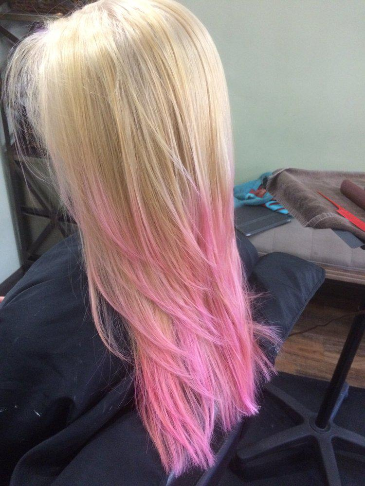 Long Blonde Hair With Pink Tips Trendy Long Hair Style J